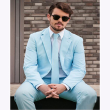 2017 New Slim Fit Groom Tuxedos Light Blue Men's suit Wedding Suits for men Casual Solid Color mens Suits Blazers (Jacket+Pants)
