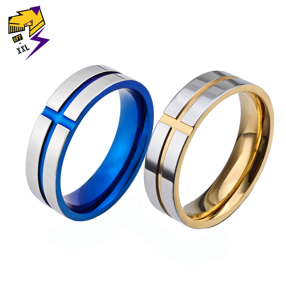 Fashion Classic Faith Religious Cross Rings Men Jewelry Blue Titanium Steel Silver Gold Color Wedding Finger Ring for Women