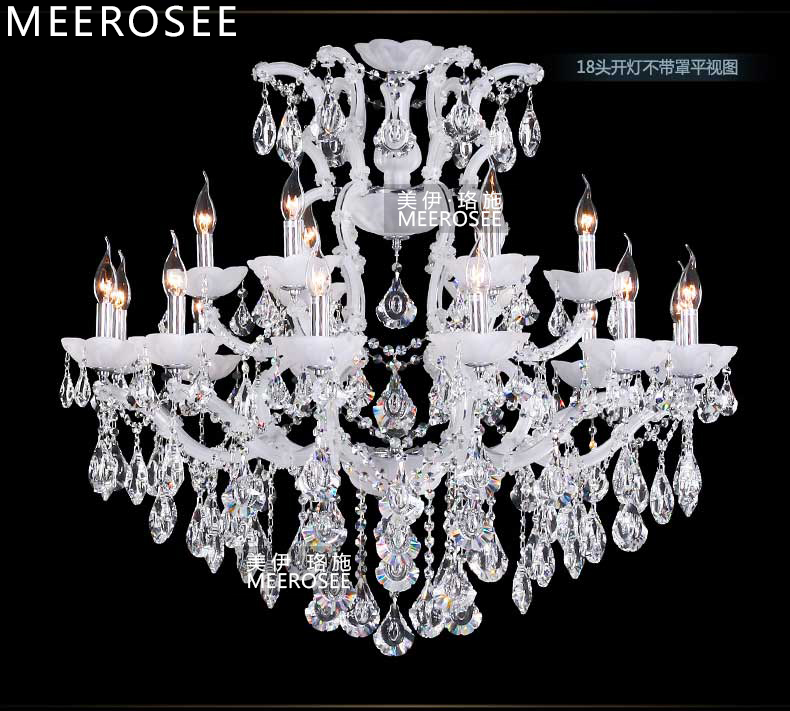 Classic Maria Theresa Chandelier Clear Crystal White Glass 18 Lamp - Indoor Lighting