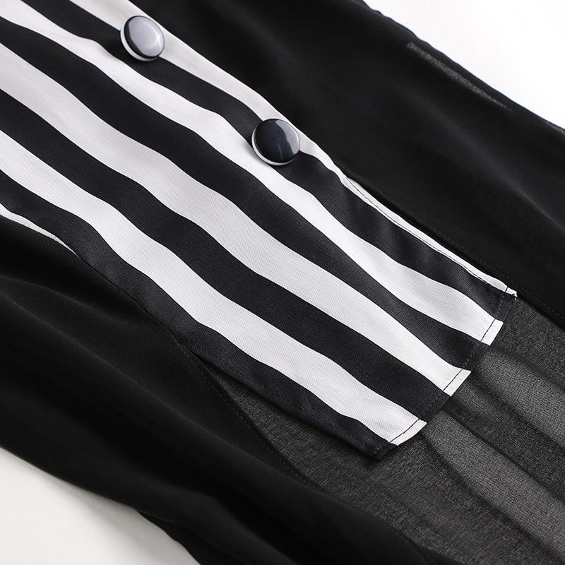2019 O Pour cou Rayé Polyester T906166 Large Printemps Femmes Mode Pantalon Costume Offre Spéciale Vêtements Noir pièce Deux pattes 2009 Court Nouvelle wp8XIZ8rxq