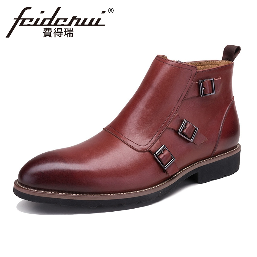Vintage Genuine Leather Men's Monk Straps Martin Ankle Boots Round Toe Handmade Man Luxury Cowboy Outdoor Riding Shoes YMX341 mabaiwan handmade rivets military cowboy boots mid calf genuine leather women motorcycle boots vintage buckle straps shoes woman