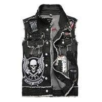 Men's skull embroidery black fringe Locomotive denim vest Trendy patches patchwork rivet letters slim waistcoat Tank top
