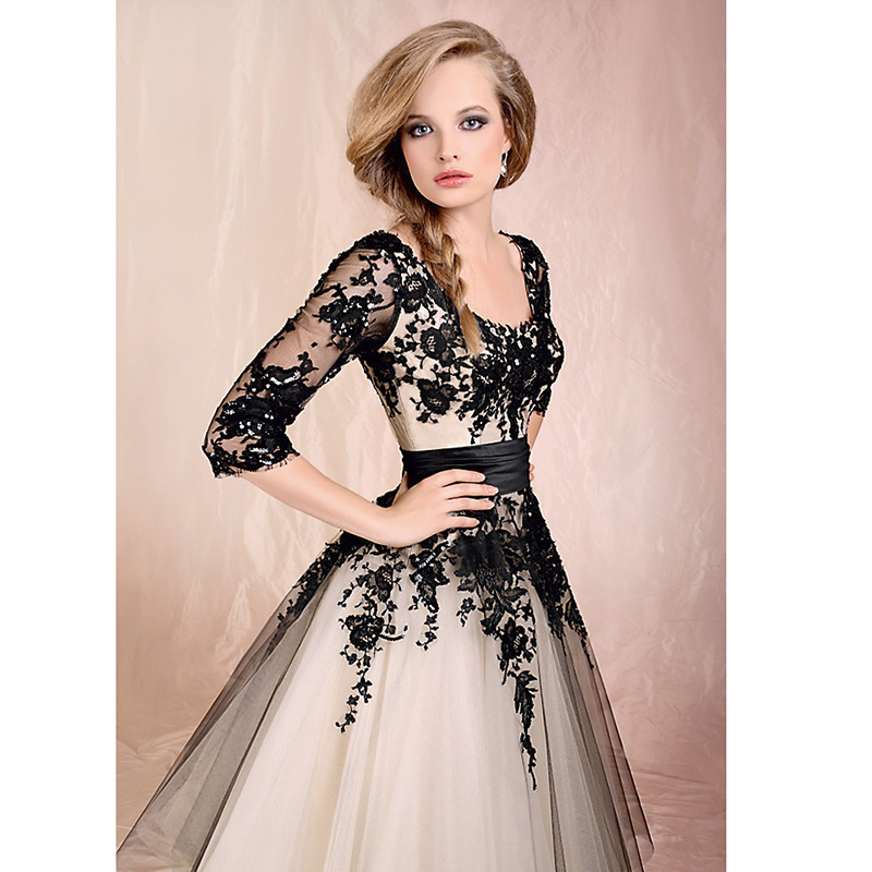 Aliexpress.com : Buy Modest White And Black Lace Appliqued Ball ...