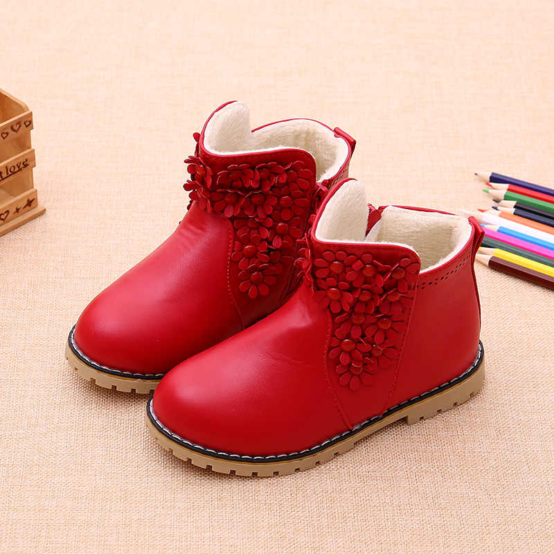 9e7c99d3af74 ... 2018 Fashion Printing Children Shoes Girls Boots PU Leather Cute Baby  Boots Comfy Ankle Kids Girl ...