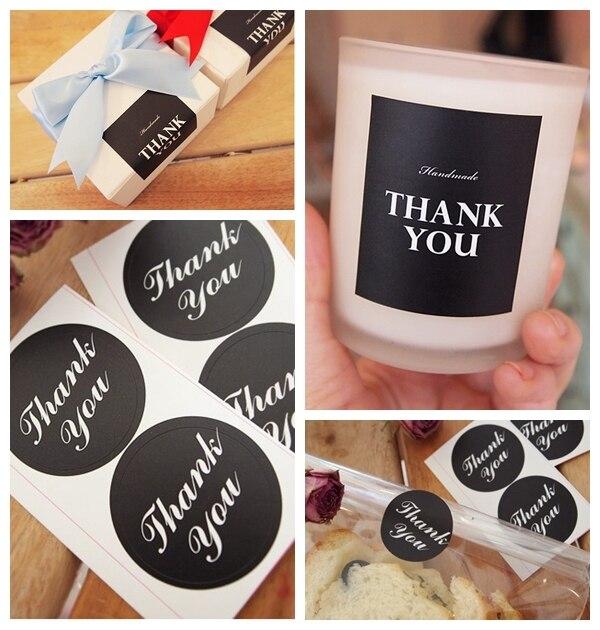 Black Thank You Stickers Wedding Favor Sticker Wedding Favors