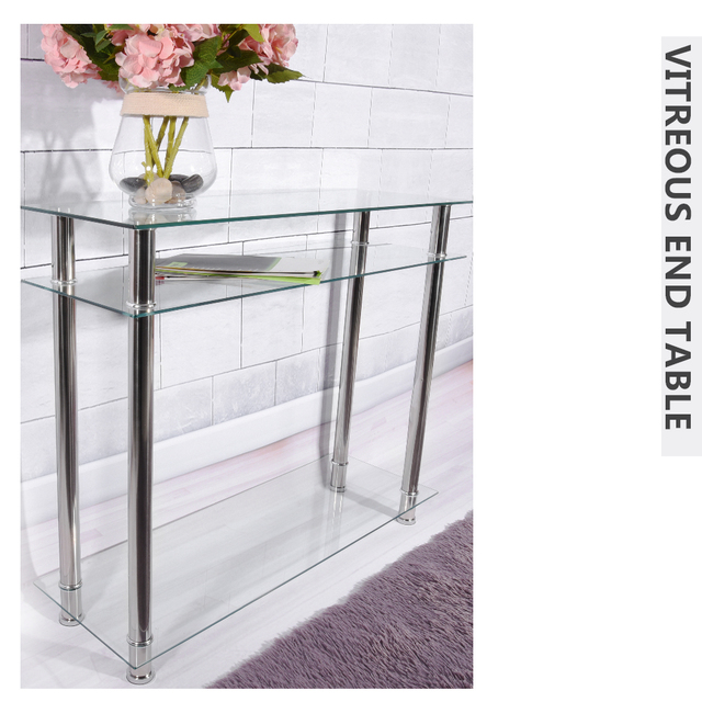 Modern French Style Tempered Glass Vitreous End Table Chrome Console Table  Living Room Furniture Dropshipping