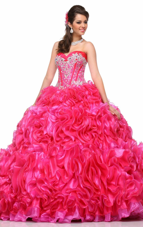 full length magenta quinceanera dresses