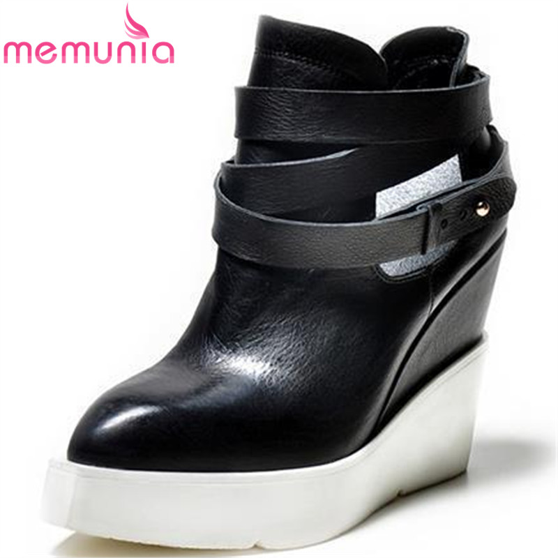 MEMUNIA Fashion Brand shoes woman genuine leather boots autumn wedges high heels women ankle boots ladies shoesMEMUNIA Fashion Brand shoes woman genuine leather boots autumn wedges high heels women ankle boots ladies shoes
