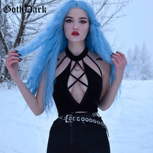 Gothic Tops Dark-Aesthetic Harajuku HALTER-TOP Backless Sexy Hollow-Out Solid Crisscross