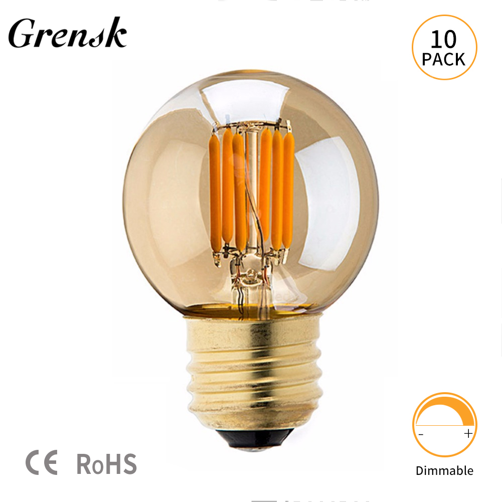Ganriland Unique Retro Dimmable Edison G40 Led Light Bulb 110v 220v Incandescent Diagram Bulbs Grensk 3w Filament Mini Globe Replacement For Outdoor