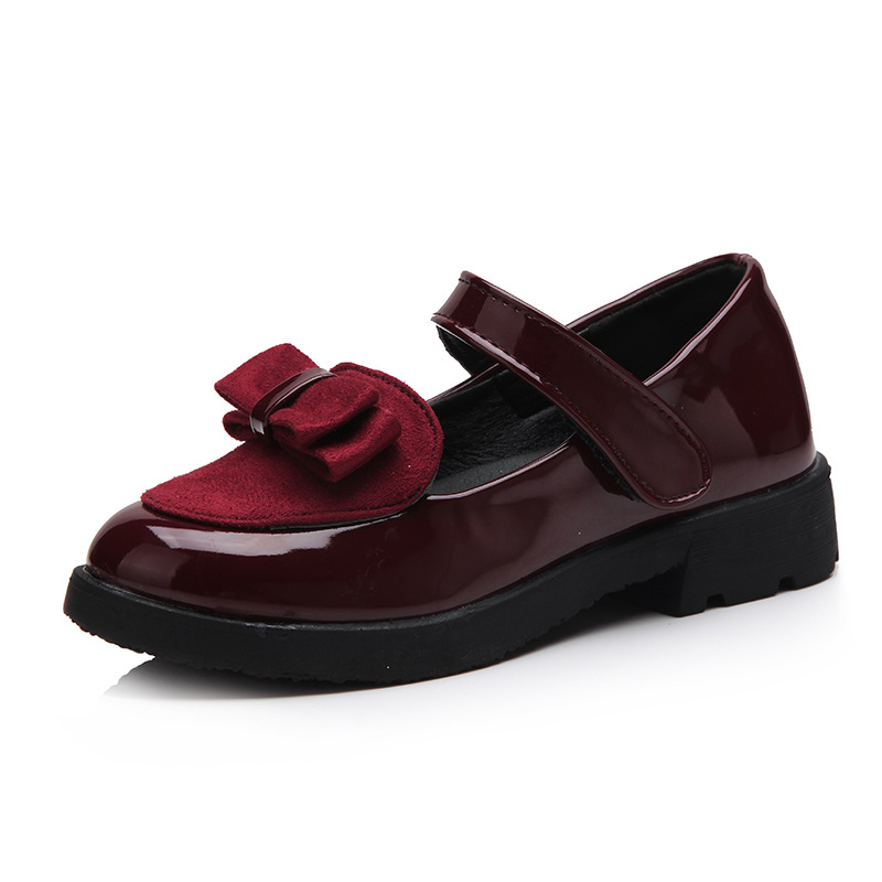 Kalupao 2019 Spring Autumn Girls Patent Leather Shoes Girls Princess Bowknot Low-heeled Hook & Loop Kids School Dress Shoes