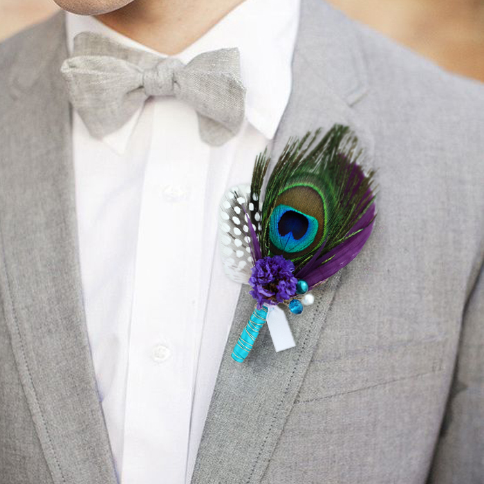 Diy Feather Bouquets Weddings: DIY Private Customization Senior Groom Corsages Peacock