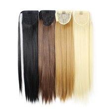 Shumeier 20 Цветов 55 см Длинные Прямые женская Теплостойкость Парики Черный/Блондинка Клип В Синтетических Волос Хвост(China (Mainland))