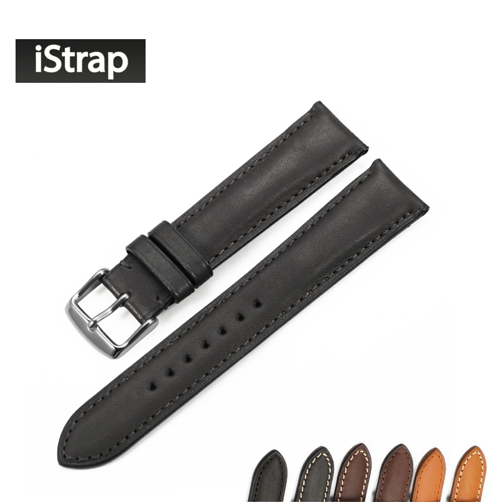 iStrap 18mm 19mm 20mm 21mm 22mm Black Brown Coffee Watchband Genuine leather Watch band Watch strap for Tissot Seiko Omega IWC istrap 22mm handmade genuine calf leather padded replacement watch band for men black 22
