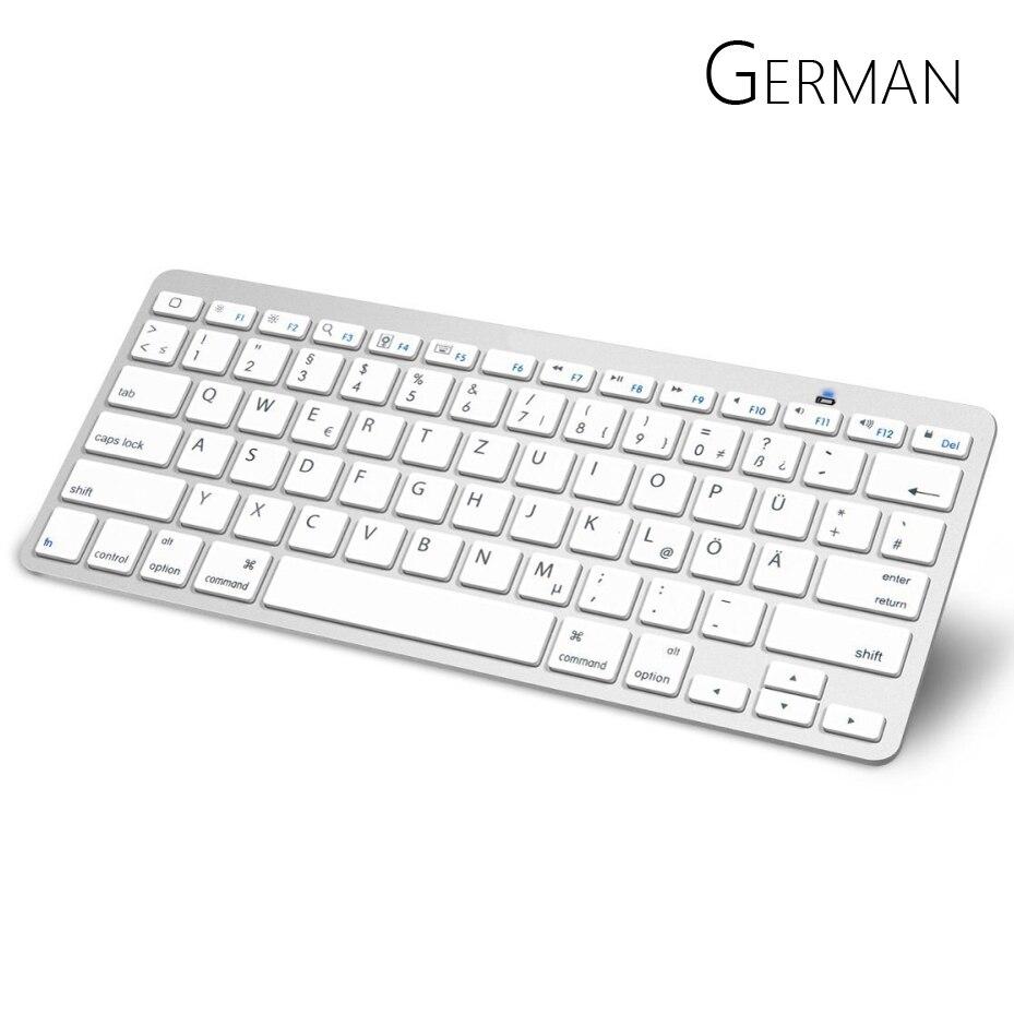 Пособия по немецкому языку арабский Bluetooth клавиатура с QWERTZ макет Беспроводной клавиатура для Apple iPad iPhone Samsung Ordinateur Портативный ...