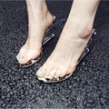 2016 Jelly Crystal Leopard Printing Open Toed High Heels Women Wedges Free Shipping Transparent Heel Sandals Slippers Discount