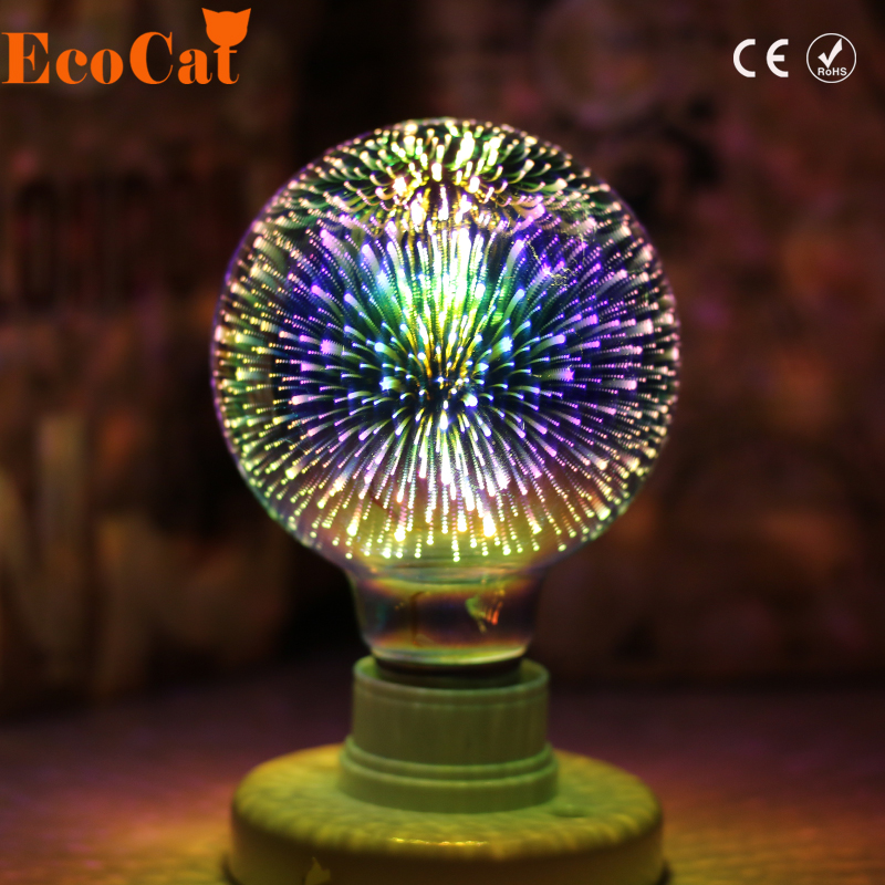 LED Light Bulb 3D Decoration Bulb E27 4W 220-240V Holiday Lights ST64 G95 G80 G125 A60 Novelty ChristmasLamp Lamparas