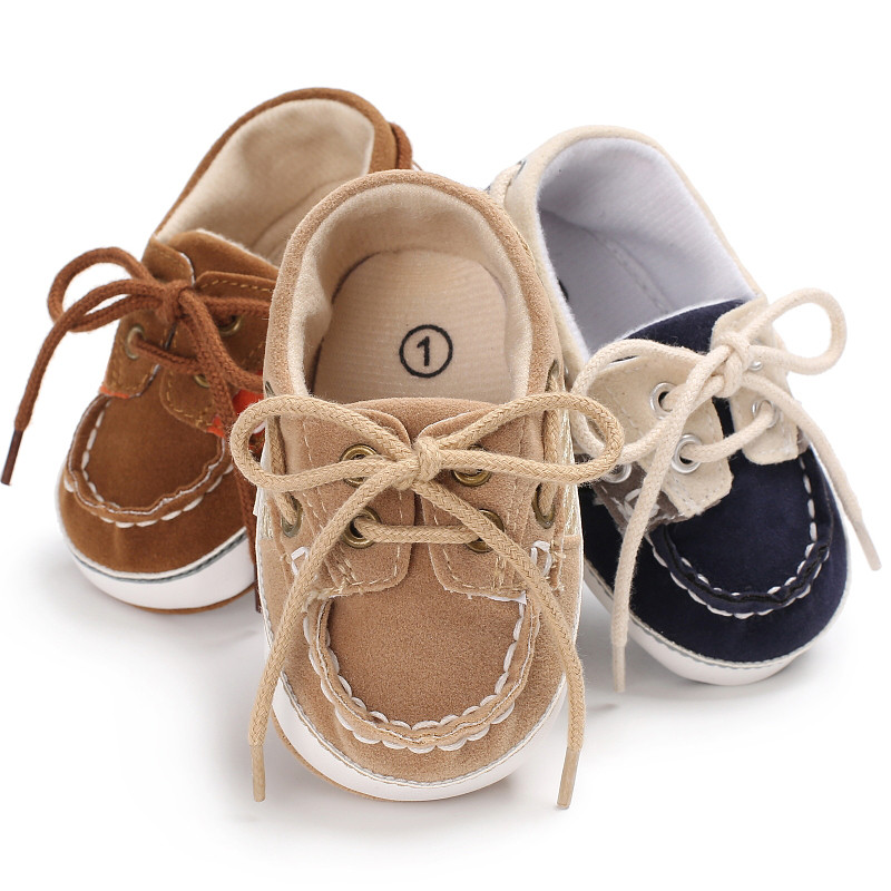 2019 New Handmade Soft First Walkers Fashion Baby Girls Shoes Brown Blue Toddler Prewalker Soft Sole Anti-Slip Baby Boys Shoes