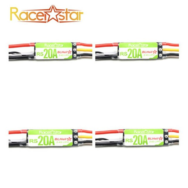 New 4X Racerstar RS20A 20A BLHELI_S OPTO 2-4S ESC Support Oneshot42 Multishot For FPV Racing
