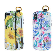 sunflower tpu case for iphone 7 8 plus XS MAX XR X fashion flower wristband holder soft silicon phone bag cases 6 6s