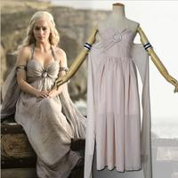 Hot Sales Game of Thrones Cosplay Costume Daenerys Targaryen Chiffon Evening Dress Gown Suit Halloween Party
