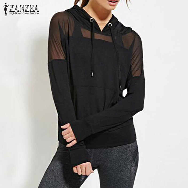 ZANZEA Nieuwe 017 Herfst Vrouwen Sweatshirt Hoodies Sexy Mesh See Through Hooded Blusas Tops Lange Mouwen Casual Trui Plus Size