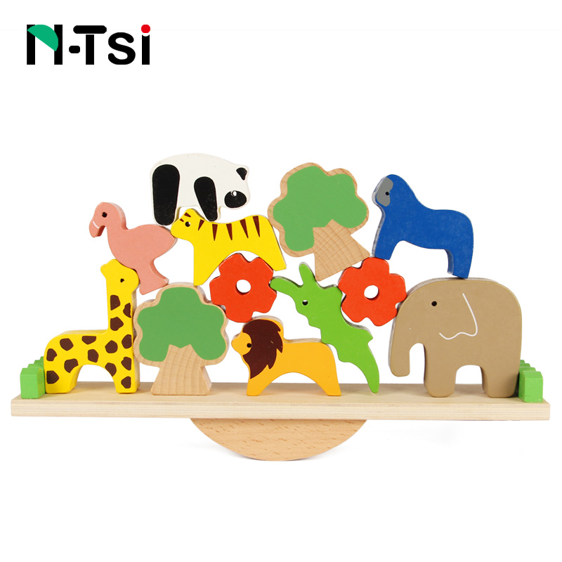 N-Tsi Wooden Moon Balance Game Block Bird Animal Balancing Tiles Stack Set Kids Educational Math Toys Gift for Children children wooden mathematics puzzle toy kid educational number math calculate game toys early learning counting material for kids