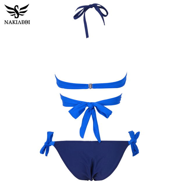 NAKIAEOI 2018 Sexy Bikini Women Swimsuit Push Up Swimwear Criss Cross Bandage Halter Bikini Set Beach Bathing Suit Swim Wear XXL 4