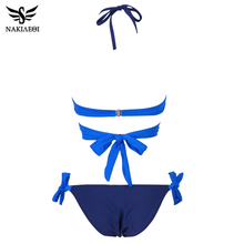 NAKIAEOI 2019 Sexy Bikini Women Swimsuit Push Up Swimwear Criss Cross Bandage Halter Bikini Set Beach Bathing Suit Swim Wear XXL