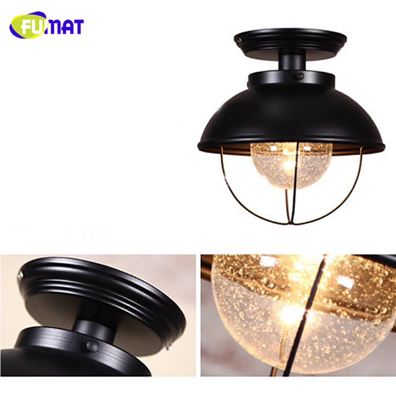 FUMAT Snow Glass Ceiling Light Nordic Balcony Ceiling Lamp Porch Aisle Cloakroom Lighting Black Bathroom Kitchen Ceiling Lights - 6
