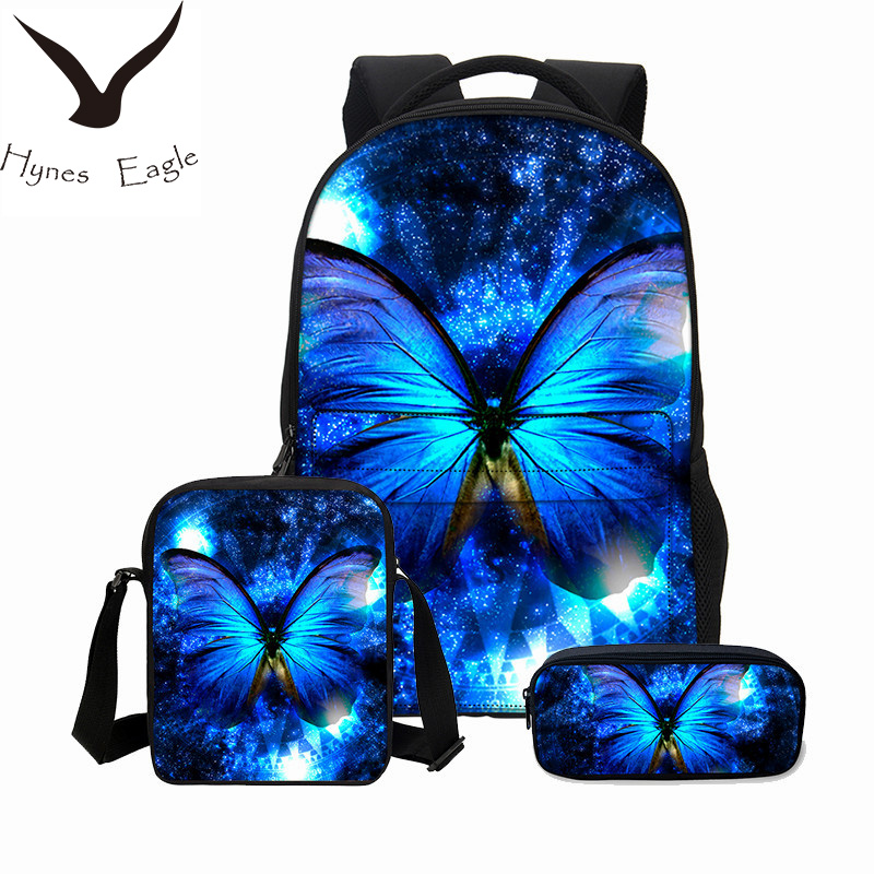 Hynes Eagle Brand Designer Backpacks For Girls Boys 3Pcs/Set Portfolio 3D Butterfly Printing School Bookbag Canvas Backpacks hynes eagle 3 pcs set 3d letter bookbag boys backpacks school bags children shoulder bag mochila girls exo printing backpack