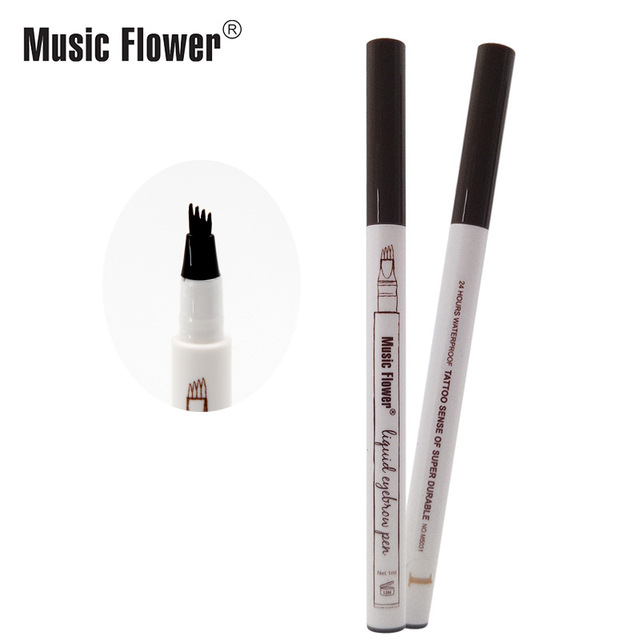 Music Flower 3 colors microblading eyebrow tattoo pen Tint Natural Long Lasting Waterproof Brown Fork tip Eyebrow Pencil 1
