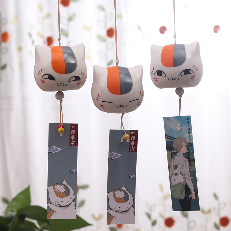 Hot Selling Peripheral Cat Teacher Spot Pendant Niangkou Sansan Ceramic Wind Bell Hanging Ornaments Japanese Creative Birthday
