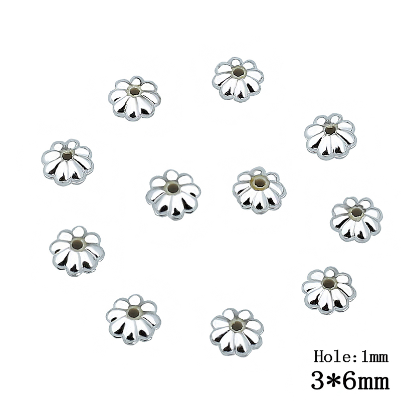 200pcs/Lot 3*6mm Silver Color Flat Round Two Hole DIY