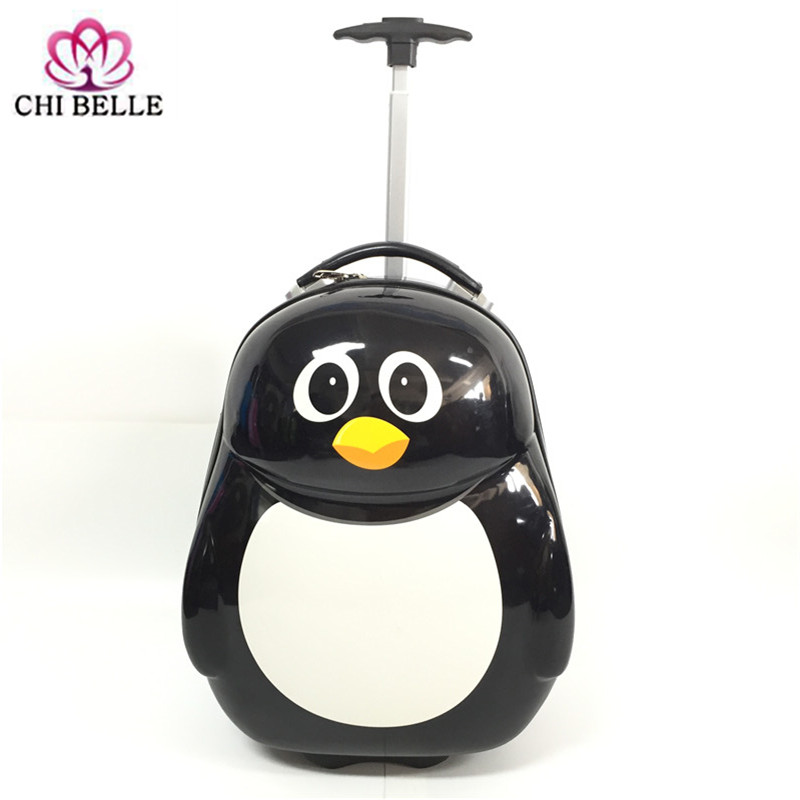 Wholesale Children's pull rod box 16 inch penguin backpack travel luggage cartoon luggage bag gift of kindergarten students