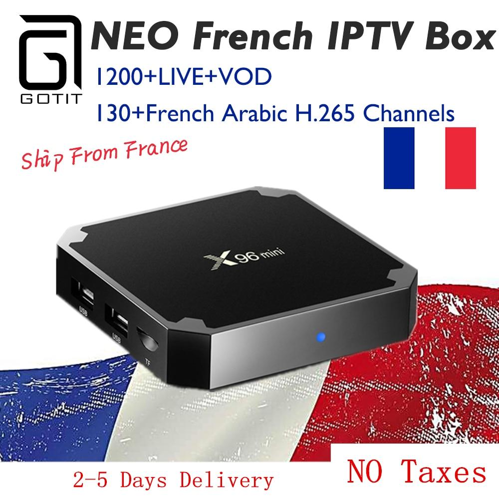 GOTIT French X96mini 4k Android 7.1 TV Box with 1200+NEOtv IPTV QHDTV Subscription French Arabic Belgium HDMI 2.0 Smart IPTV Box