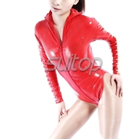 Suitop latex leotard laced up suit for women
