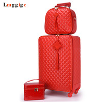 Women 's 2024 inch Travel Rolling Luggage Suitcase bag set,Red Waterproof PU leather Bag with Wheel , New Trolley case