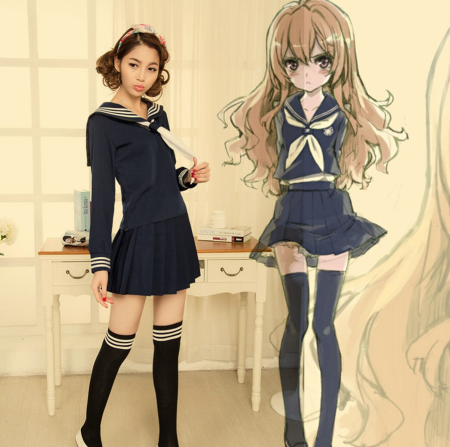 Anime TIGER DRAGON Toradora Aisaka Taiga salior Cosplay Costume sexy halloween costumes for women School Suit Uniform Одежда