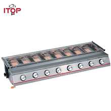 ITOP 8 Burners Gas BBQ Grills LPG BBQ Griddles Outdoor Barbecue Tools Stainless Steel/Glass Shields 102*25CM Grills Size