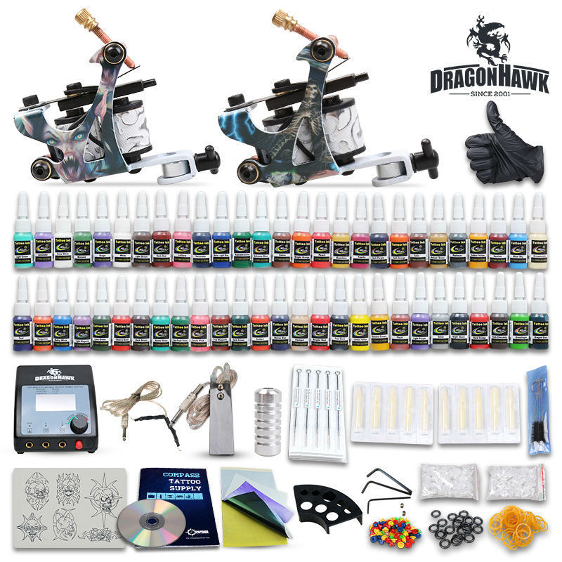 Beginner tattoo starter kits 2 guns machines 20 ink sets for Starter tattoo kits