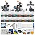 Beginner tattoo starter kits 2 guns machines 20 ink sets power supply needle pedal tips D100GD-6