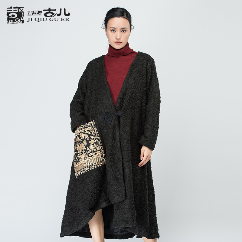 Jiqiuguer Original Design Women Vintage Winter Warm Coat Asymmetric Hem Long Outwear Ladies Embroidery Ethnic Outerwear G161Y021