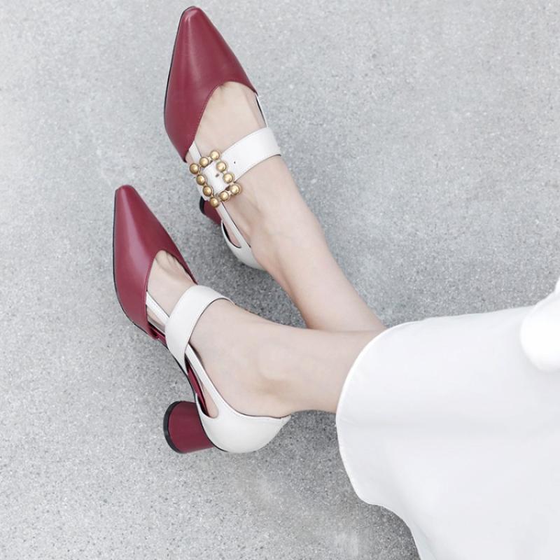 Metálica Blanco rojo blanco Otoño Coreano Primavera Rojo Cuero Damas Bombas De Zapatos Negro Nueva Negro Hebilla Marca Mujer Mujeres Estilo UOvqHHw