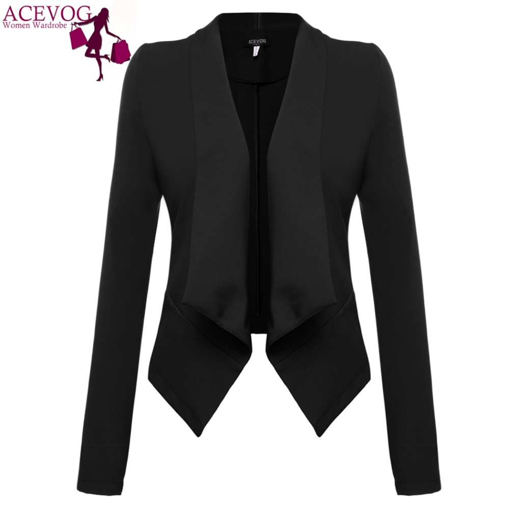 ACEVOG Brand 2017 Women Blazer Coat Autumn Winter Long Sleeve Jacket Coat Basic Elegant Ladies Blazers Dark Red Black Plus Size