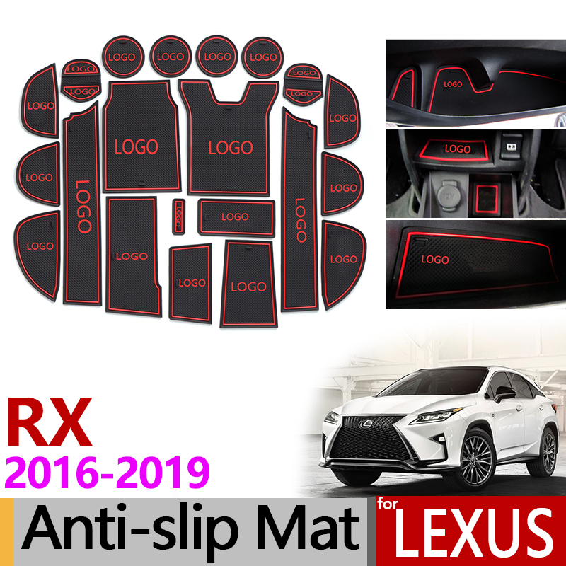 Anti-Slip Gate Slot Mat Rubber Coaster for Lexus RX 300 200t 450h RX200t RX300 RX450h 2016 2017 2018 2019 Accessories Stickers