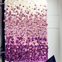 SPR 2,4 м * 3 м Бесплатная доставка шелк свадьба фиолетовый ombre цветок стены свадебный фон искусственный ряд цветов и арки декоративные flore