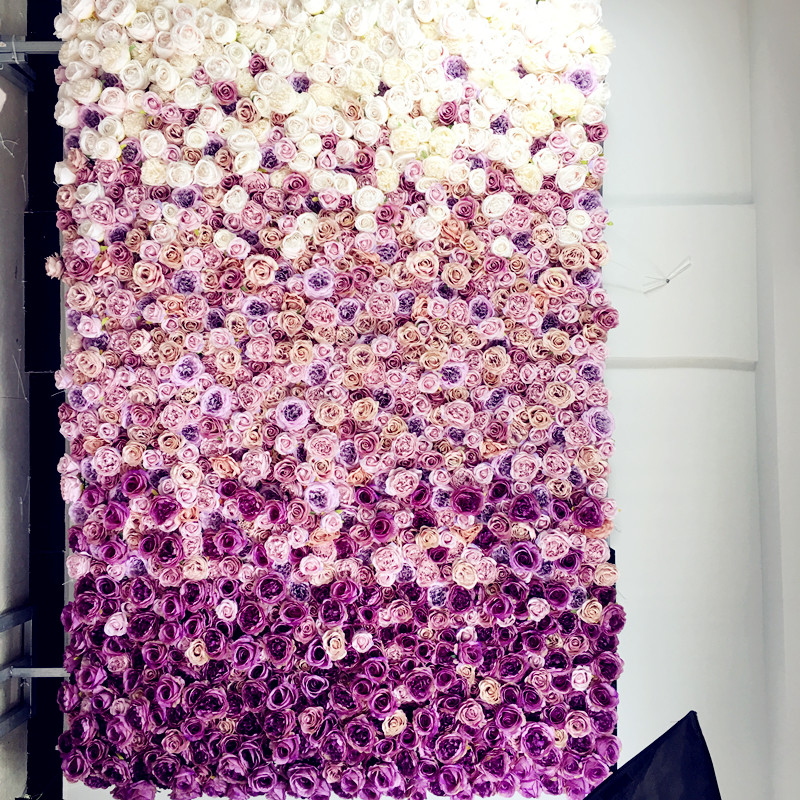 SPR 2.4m*3m Free Shipping silk wedding purple ombre flower wall wedding backdrop artificial flower row and arch decorative flore