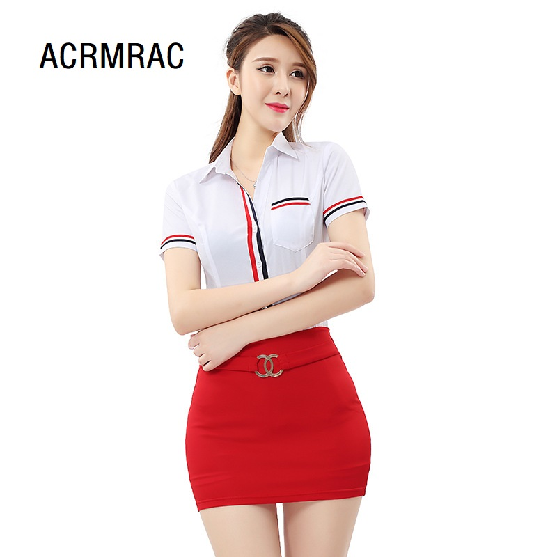 Women Suits Slim Summer V-neck Short Sleeve Blazers Skirt 2 Pieces Set Sexy Women Skirt Suits Women Set Suits 2290