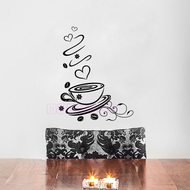 Kaffeetasse Love Vinyl Wandtattoos Poster Küche Café Wand Fliesen Wandkunst  Tapete Wohnkultur Haus Dekoration